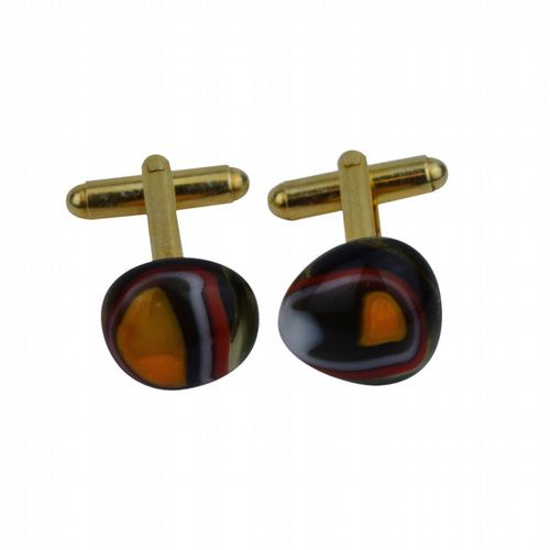 Glass Cufflinks - Marbleised With Gold Base